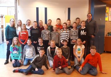 Foto: winnaars 2017, groep 8 van basisschool 't Eimink uit Hengelo (OV)